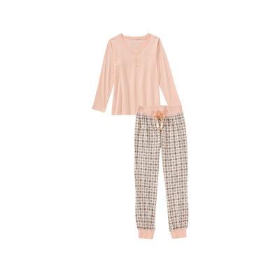 Damen-Schlafanzug mit modernem Muster, 2-teilig