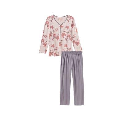 Damen-Schlafanzug mit schicker Knopfleiste, 2-teilig
