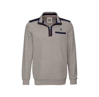 Herren-Sweatshirt mit Troyer-Kragen
