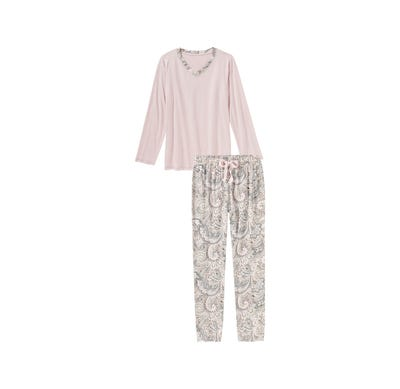 Damen-Schlafanzug mit Paisley-Muster, 2-teilig