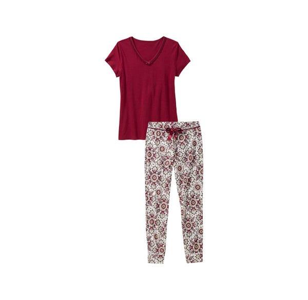 Damen-Schlafanzug mit Spitze am Ausschnitt, 2-teilig
