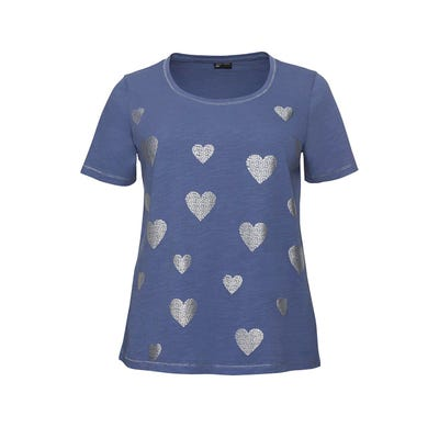 Damen-T-Shirt mit glänzendem Herzmuster, große Größen