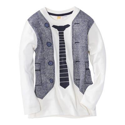 Jungen-Shirt mit aufgedruckter Weste