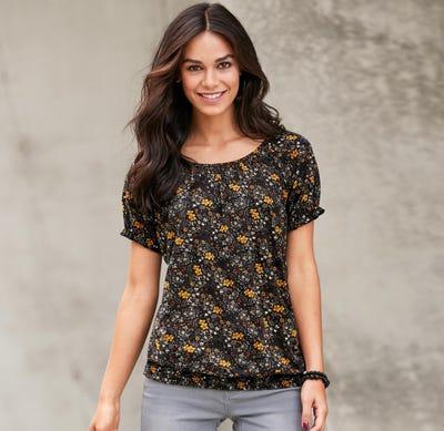 Damen-T-Shirt mit abgenähten Säumen