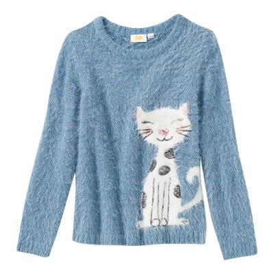 Mädchen-Pullover mit Katzen-Motiv