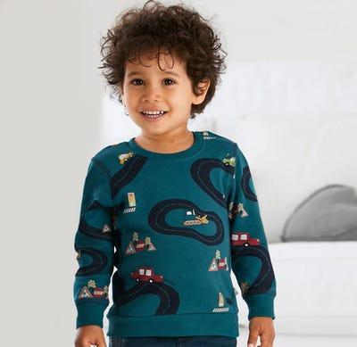Baby-Jungen-Sweatshirt mit angesagtem Auto-Motiv