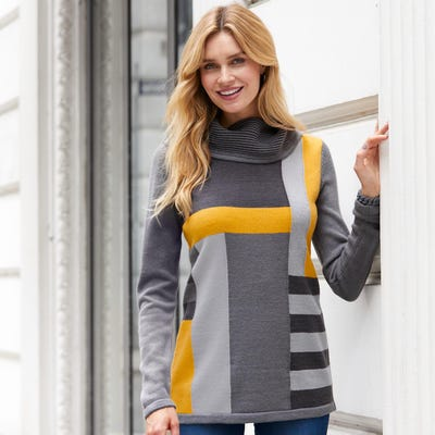 Damen-Strickpullover in Patchwork-Design