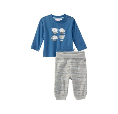 Baby-Jungen-Set mit süßem Frontaufdruck, 2-teilig