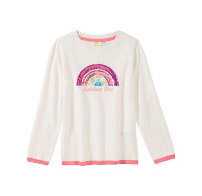 Mädchen-Pullover mit Pailletten-Regenbogen