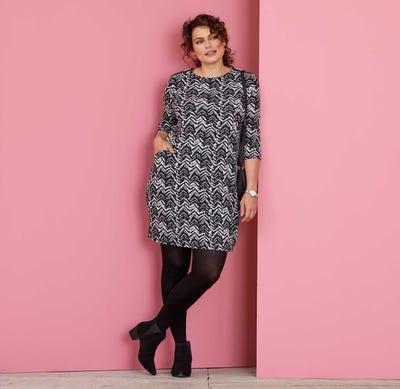 Damen-Kleid mit Zickzack-Muster, große Größen