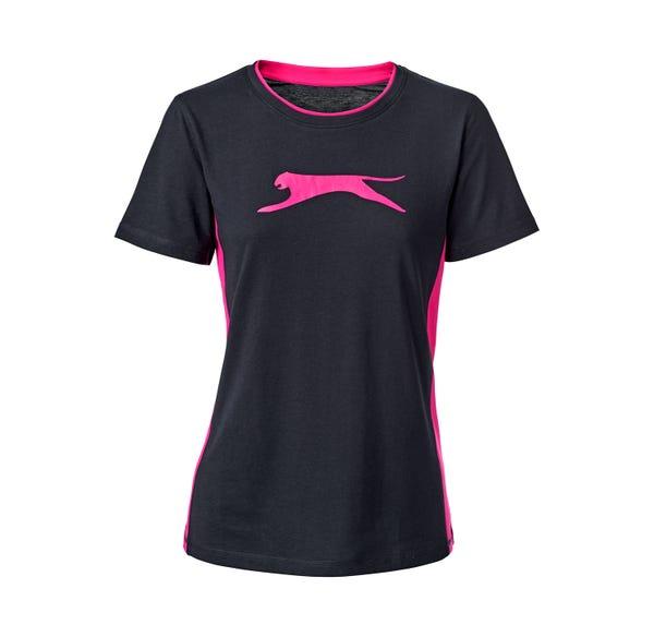 Damen-Fitness-T-Shirt mit modischen Kontraststreifen