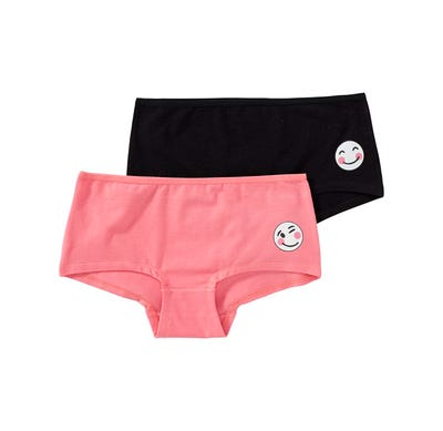 Mädchen-Panty mit Smiley-Aufdruck, 2er Pack
