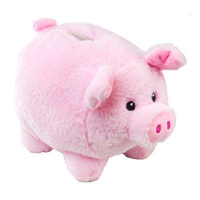 Plüsch-Sparschwein mit flauschigem Fell, ca. 20cm