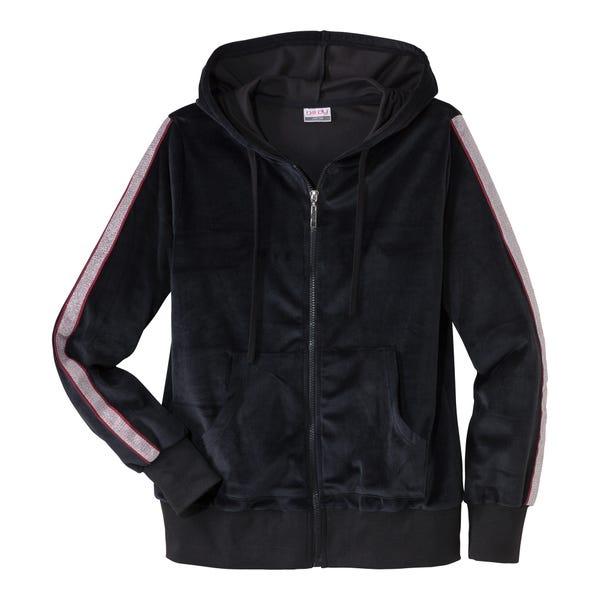 Damen-Samt-Jacke mit glänzenden Streifen