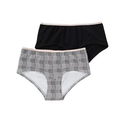 Damen-Panty mit trendigem Karomuster, 2er Pack