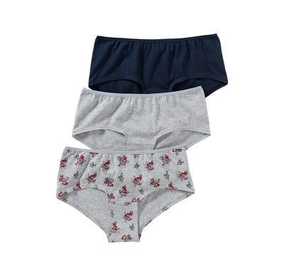 Damen-Panty mit Blümchen-Design, 3er Pack