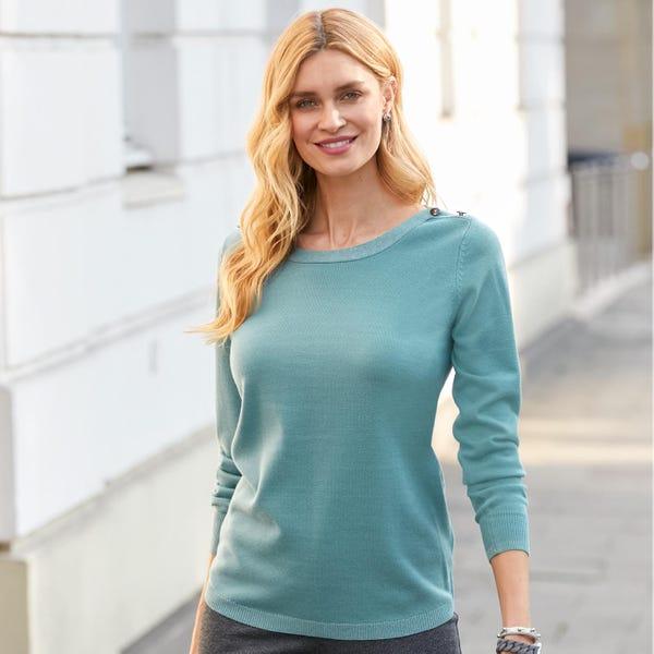 Damen-Pullover mit modischen Knöpfen