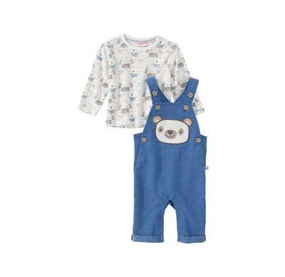 Baby-Jungen-Set mit Bären-Applikation, 2-teilig