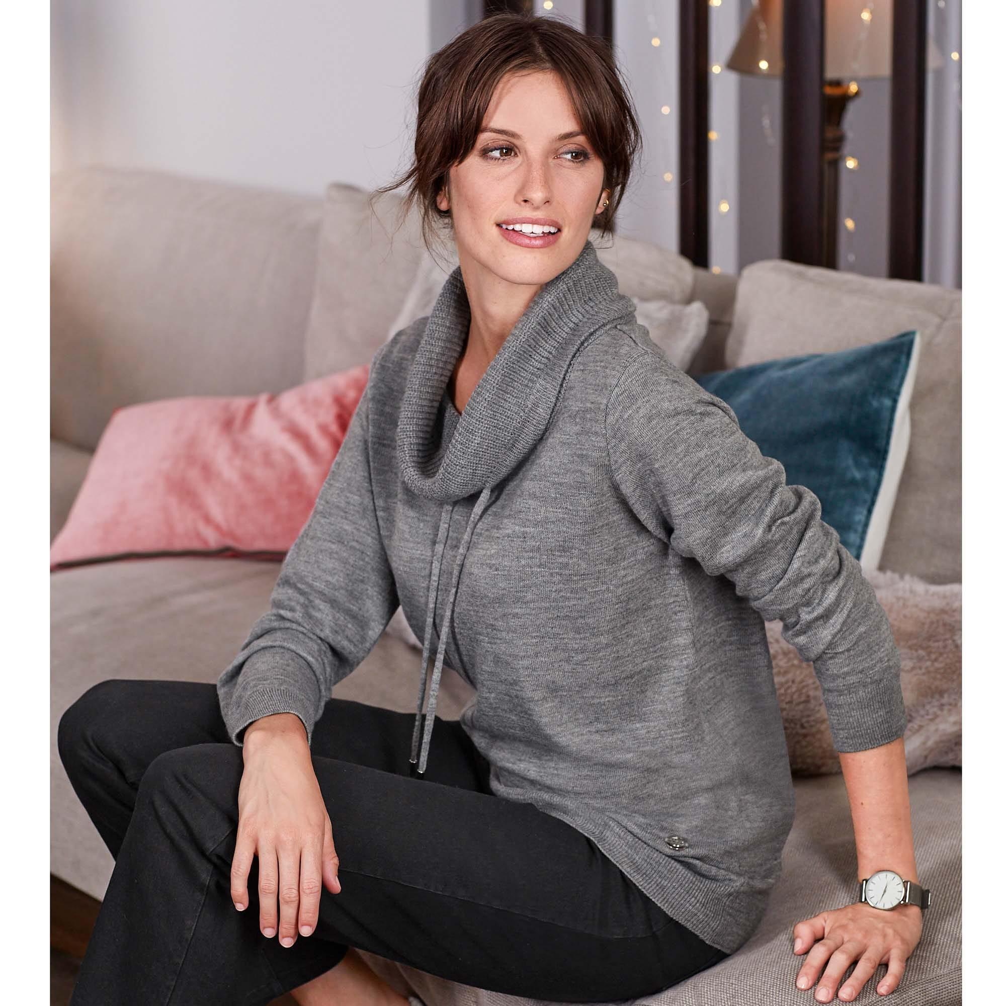 Damen Pullover mit weitem Rollkragen