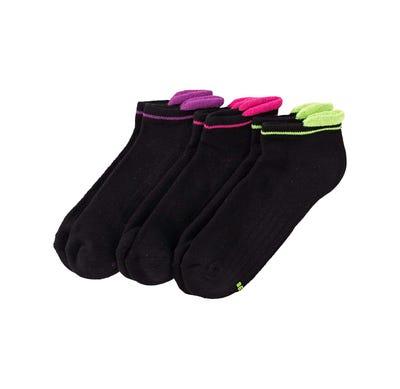 Damen-Sneaker-Socken mit Kontrast-Bündchen, 3er Pack