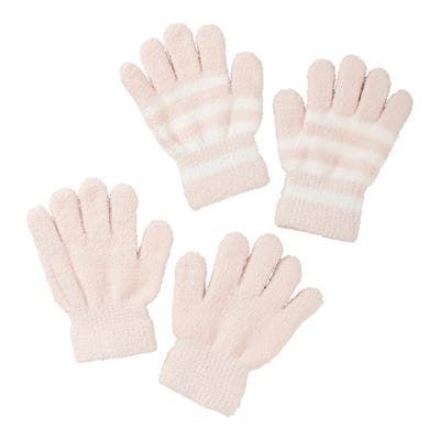 Mädchen-Handschuhe mit Streifenmuster, 2er Pack