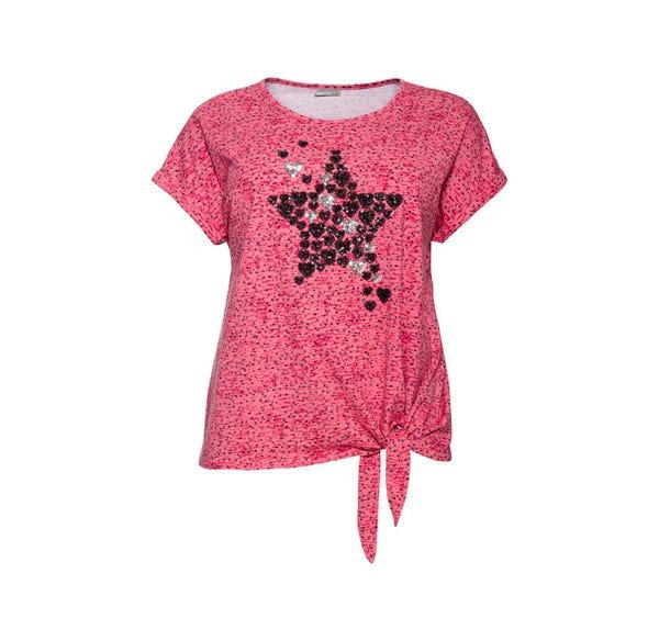 Damen-T-Shirt mit Pailletten-Applikation, große Größen