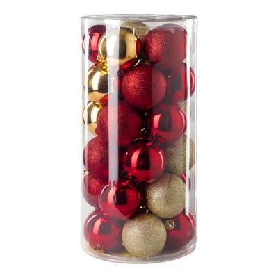 Weihnachtskugeln in verschiedenen Farbvariationen, Ø ca. 6cm, 30-teilig