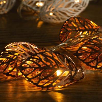 LED-Lichterkette mit 3D-Blättern, ca. 110cm
