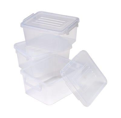 Aufbewahrungsbox mit Klick-Verschluss, ca. 28x22x13cm, 3er Pack
