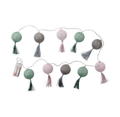LED-Lichterkette mit Zwirnbällen, ca. 165cm