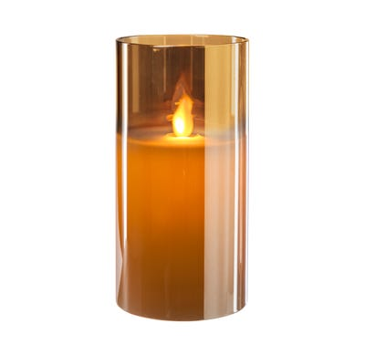 LED-Kerze im Glas aus echtem Wachs, ca. 8x15cm