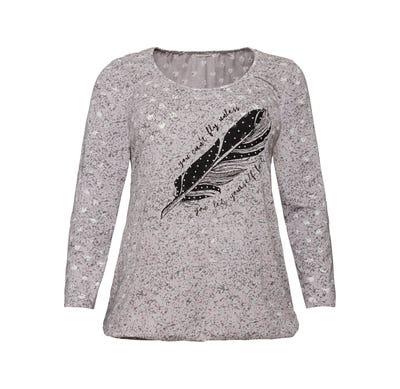 Damen-Shirt mit Feder-Frontaufdruck, große Größen