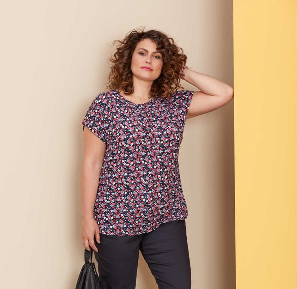 Damen-T-Shirt mit Blümchen-Muster, große Größen
