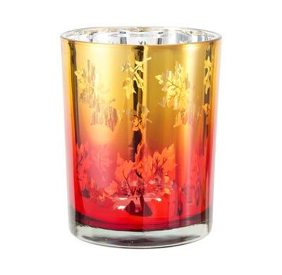 Kerzenglas mit wunderschönen Blättern, ca. 10x13cm