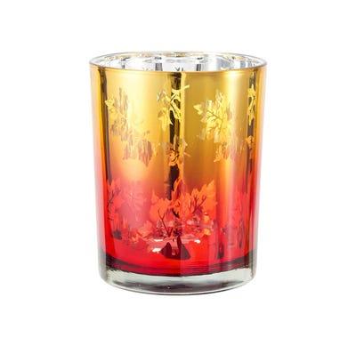 Teelichtglas mit zauberhaften Blättern, ca. 7x8cm