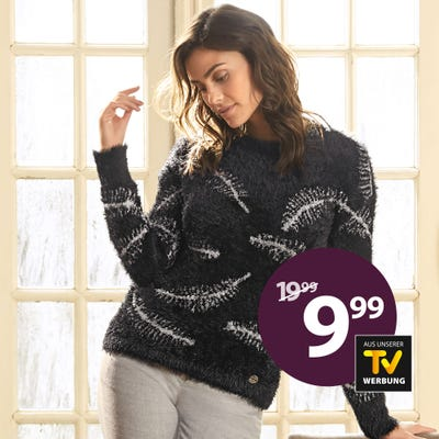 Damen-Pullover mit Feder-Design