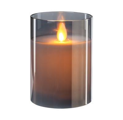 LED-Kerze im Glas mit Wackeldocht, ca. 8x10cm