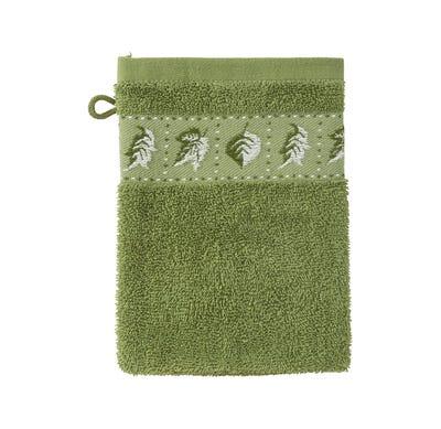 Waschhandschuh mit Blätter-Bordüre, 16x21cm