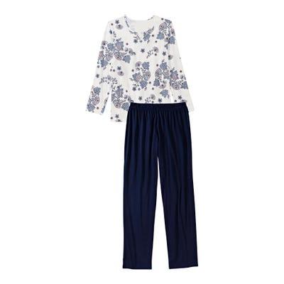 Damen-Schlafanzug mit floralem Design, 2-teilig