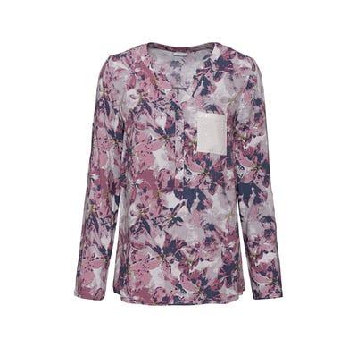 Damen-Bluse mit Pailletten-Brusttasche