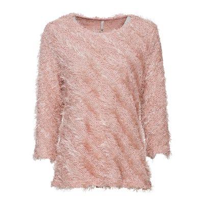 Damen-Sweatshirt mit flauschigem Ringelmuster
