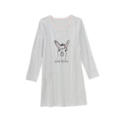 Damen-Nachthemd mit Lama-Frontaufdruck