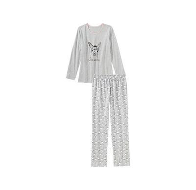 Damen-Schlafanzug mit Lama-Frontaufdruck, 2-teilig