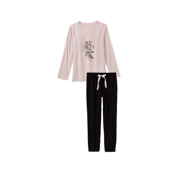 Damen-Schlafanzug mit Satin-Bindeband, 2-teilig