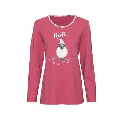 Damen-Schlafshirt mit Schaf-Frontaufdruck, Mix&Match