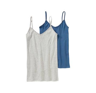 Damen-Hemd mit glänzenden Spaghetti-Trägern, 2er Pack