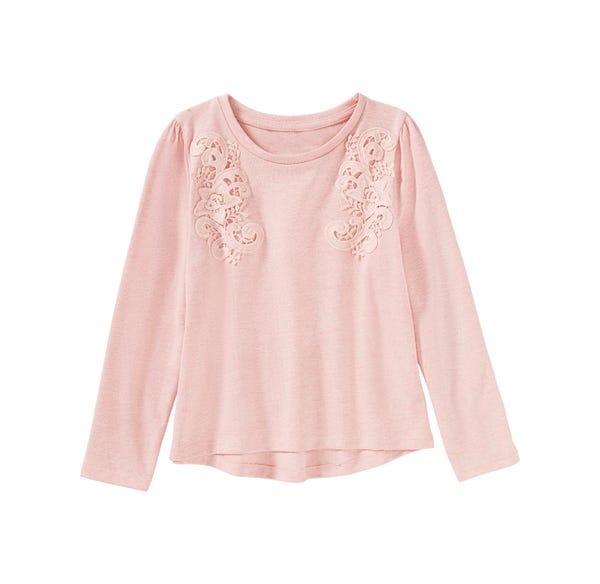 Mädchen-Shirt mit Spitzenverzierungen