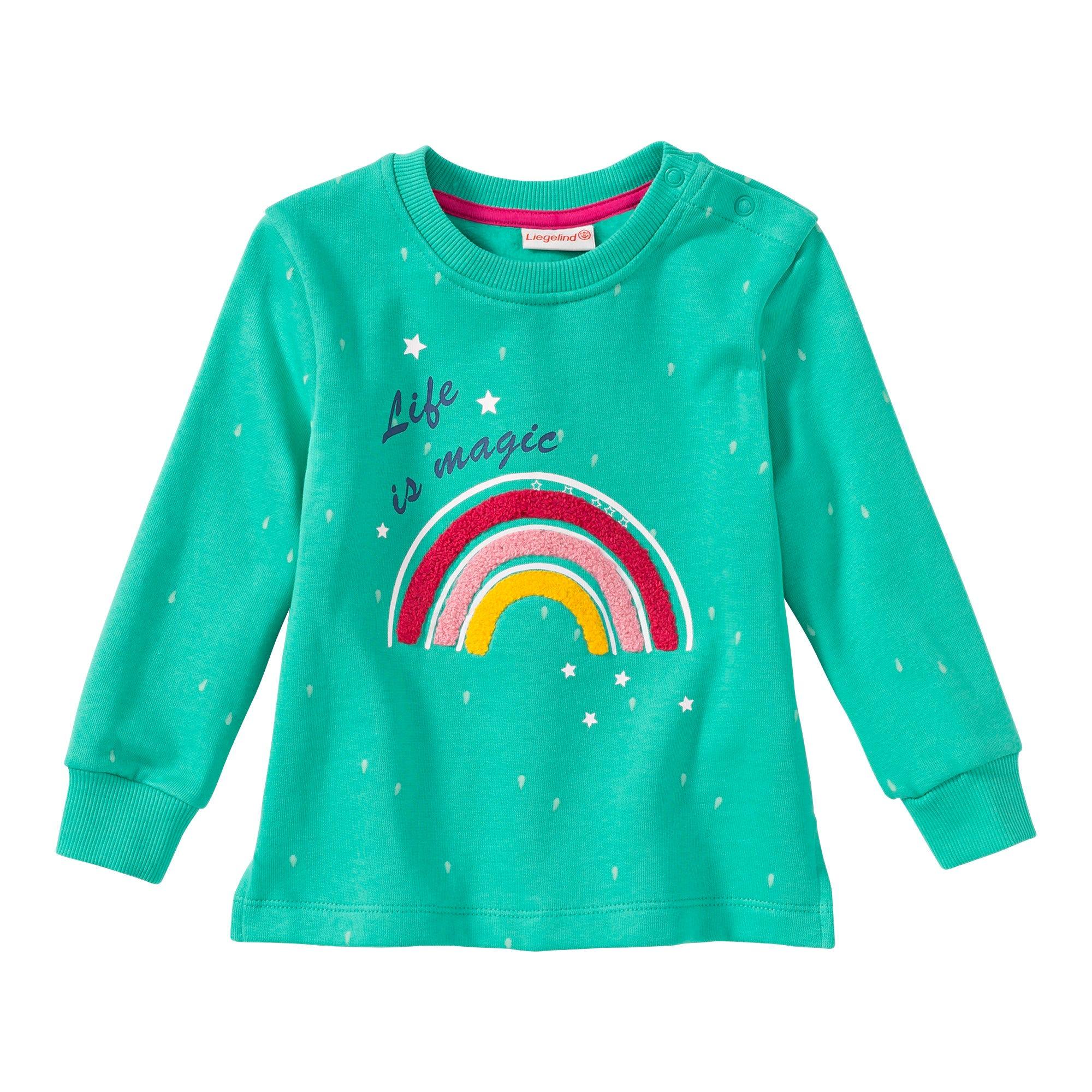 Baby Mädchen Sweatshirt mit Regenbogen Applikation