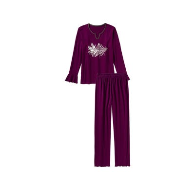 Damen-Schlafanzug mit Rüschen, 2-teilig