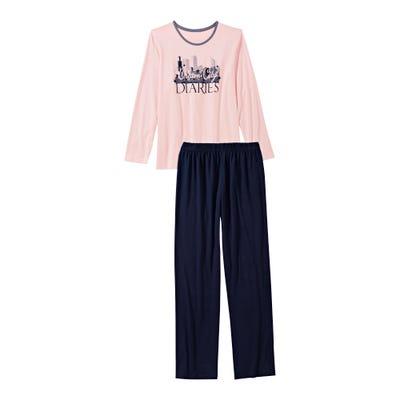 Damen-Schlafanzug mit Großstadt-Frontaufdruck, 2-teilig